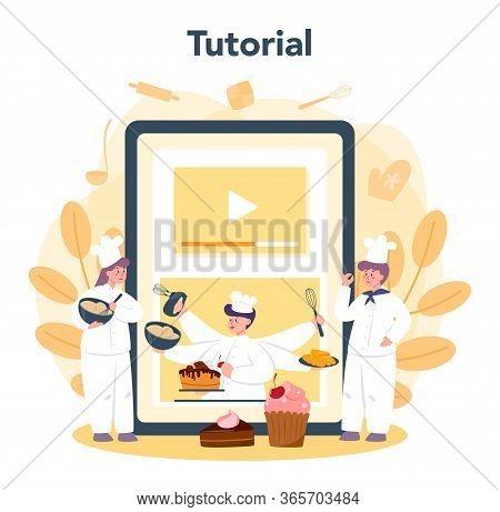 Confectioner Online Service Or Platform. Online Baking Tutorial.