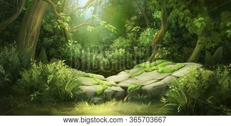 Deep Forest. Fantasy Backdrop. Concept Art. Realistic Illustration. Video Game Digital Cg Artwork Ba