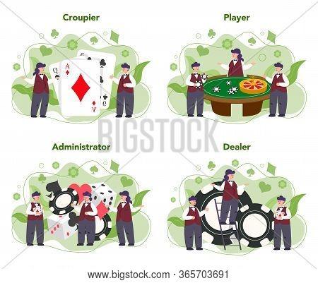 Croupier Concept Set. Dealer In Casino Near Roulette Table.