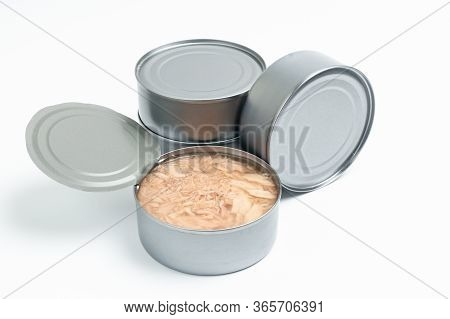 Cans Of Tuna Open Isolated On White Background