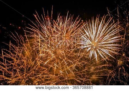 Christmas, Holiday, Pyrotechnical, Celebration And Anniversary Concept. Colorful Bright Fireworks In