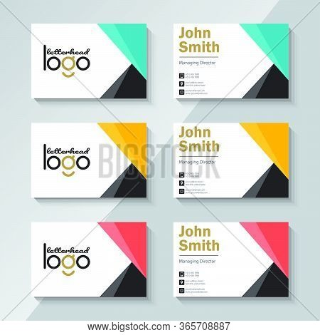 Vector Modern Creative And Clean Business Card Template Set Bundle. Personal Business Card With Comp