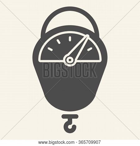 Hanging Scale Solid Icon. Kitchen Scales Tool Symbol, Glyph Style Pictogram On Beige Background. Han