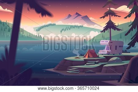 Summer Night Landscape With Mountain Lake View And Camping . Summer Night Camp On River Shore.