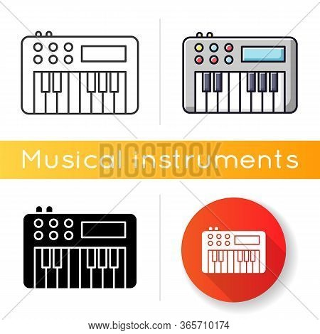 Synthesizer Icon. Electronic Musical Instrument For Band Performance. Keyboard To Play Music. Electr