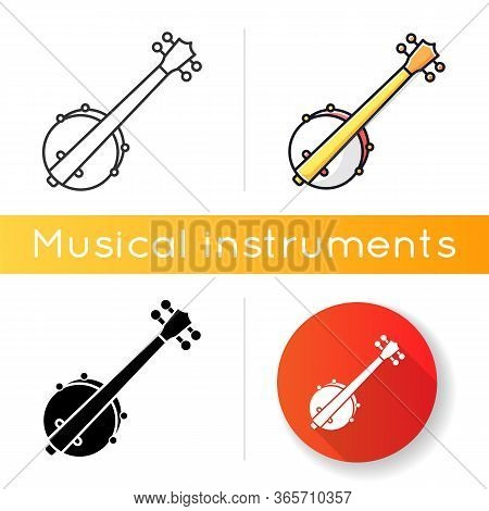 Banjo Icon. Traditional Western Musical Instrument. Bluegrass Band Live Performance. American Jazz C