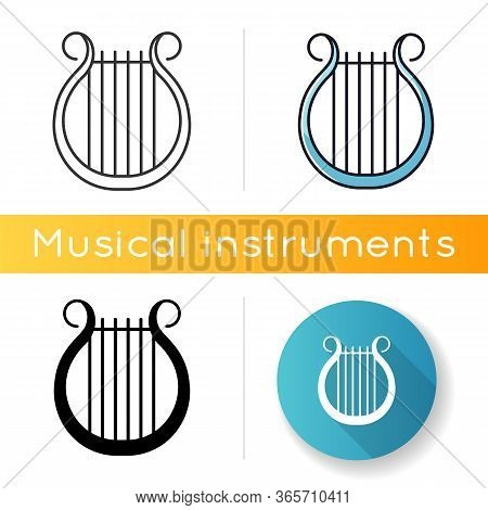 Lyra Icon. Classical Music. Orchestra String Musical Instrument. Opera Performance. Greek Muse Symbo