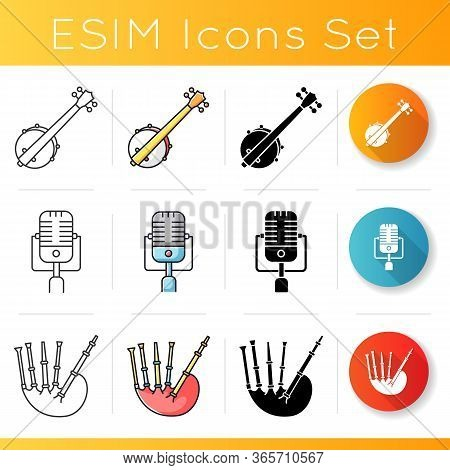 Orchestral Musical Instruments Icons Set. American Banjo. Vintage Microphone. Scottish Bag Pipes. Bl