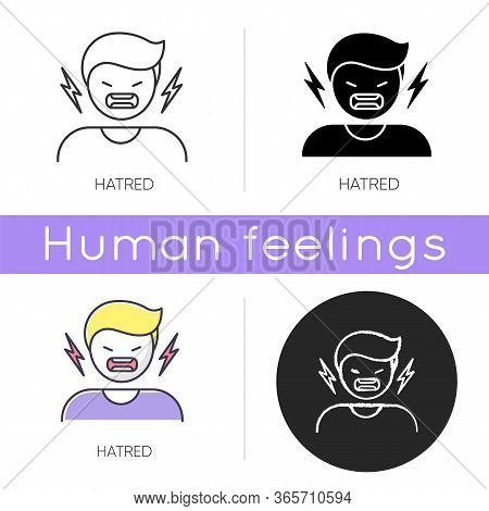 Hatred Icon. Man Aggressively Shout. Person Yell From Irritation. Negative Intense Emotion. Crisis A
