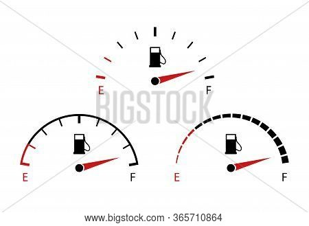 Vector Fuel Gauge Icon. Indicator Of Full Gas Or Petrol For Dashboard In Car On White Background. Me