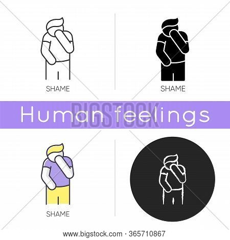 Shame Icon. Human Feeling Embarrassed. Social Emotion Of Guilt. Moral Toxic Feeling. Mental Health I