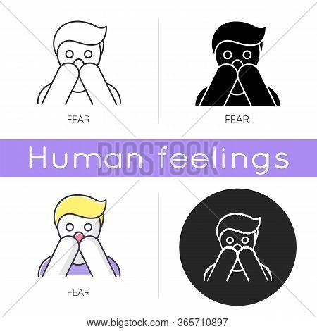 Fear Icon. Human Phobia. Panic Attack. Anxiety Disorder. Afraid Of Threat. Stress And Mental Health