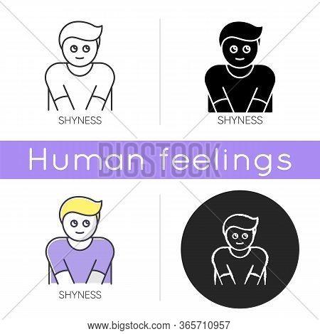 Shyness Icon. Person Feeling Awkward. Man Embarrassed. Social Anxiety. Low Self Esteem. Emotional Ab