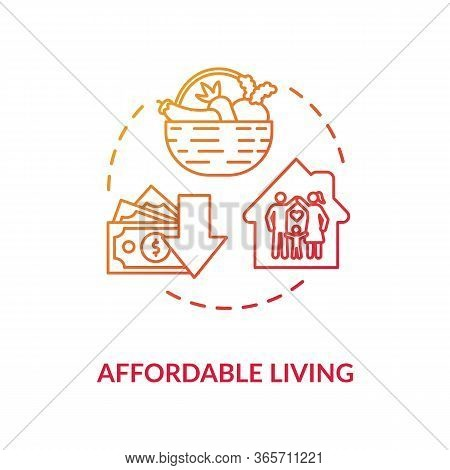 Affordable Living Red Concept Icon. Residential Property Rent. Family Housing. Economy On Home Budge