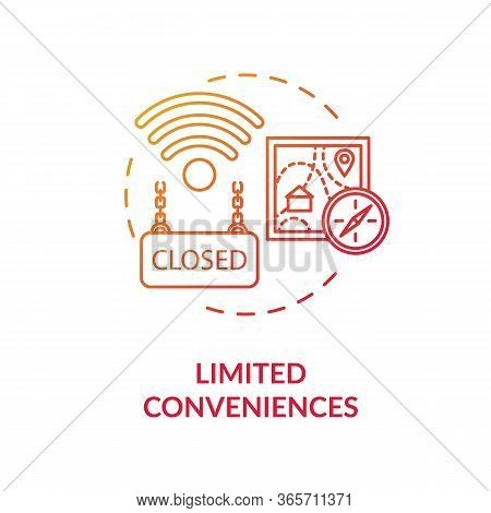 Limited Conveniences Red Concept Icon. Country Living Inconvenience. Long Distance. Village Life Dis