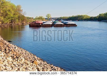 Barges Docked Along Banks Of Mississippi River In South Saint Paul Minnesota