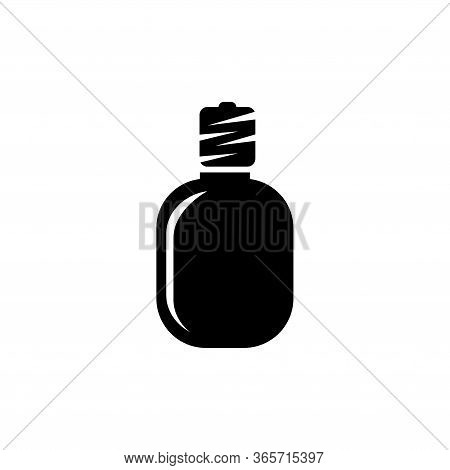 Hunter Water Bottle, Army Drinking Flask. Flat Vector Icon Illustration. Simple Black Symbol On Whit