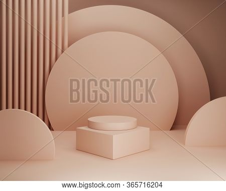 3d Beige Pedestal Display With Primitive Geometric Shape. Trendy Background With Square And Cylinder