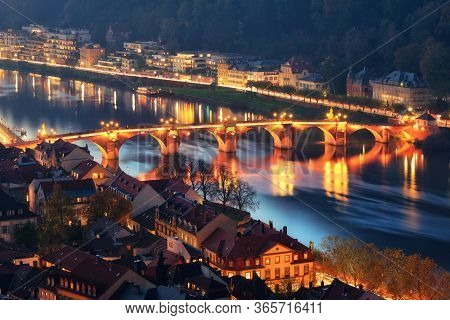 Heidelberg, Germany: Night Scene Of The Old Bridge On The Neckar River, Aerial View