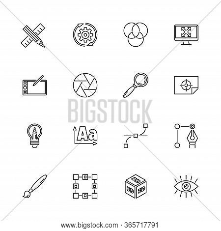 Graphic Design, Project Outline Icons Set - Black Symbol On White Background. Graphic Design, Projec