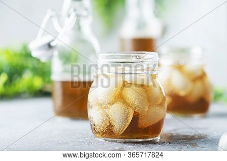 Summer Cold Tea With Ice, Selective Focus Image