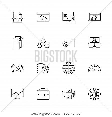Web Development, Programming Outline Icons Set - Black Symbol On White Background. Web Development S