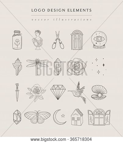 Collection Of Vector, Fine, Hand Drawn Logo Design Elements, Detailed Decorative Illustrations And I
