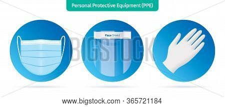 Personal Protection Equipment Icons. Face Mask, Plastic Face Shield And Latex Gloves Vector Illustra