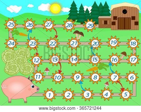 Kids Colorful Board Game Template With Pig