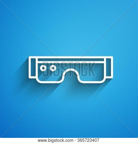 White Line Smart Glasses Mounted On Spectacles Icon Isolated On Blue Background. Wearable Electronic