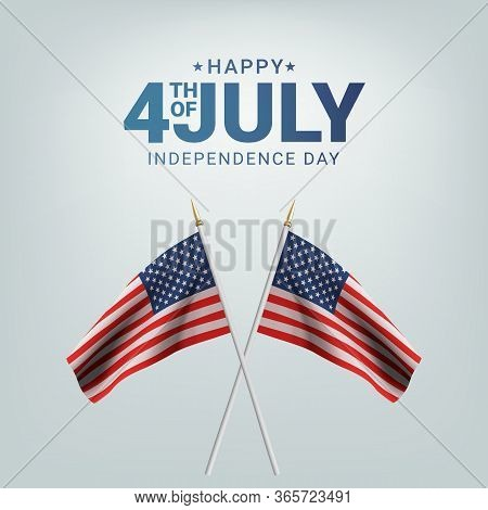 Happy 4th Of July Usa Independence Day. Waving Flag Of The America. 3d Advertising Textile Vector Fl