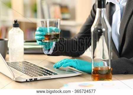 Close Up Of Entrepreneur Woman Hands Drinking Alcohol Working On Laptop On Coronavirus Confinement S