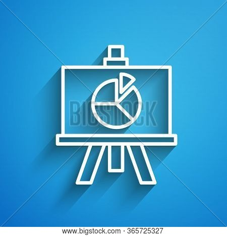 White Line Xyz Coordinate System Icon Isolated On Blue Background. Xyz Axis For Graph Statistics Dis