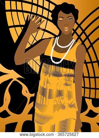 Cheerful 20s' African American Woman With Short Hairstyle Winking And Waving On Black And Gold Geome
