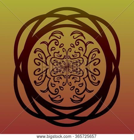 Elegant Entwined Circle With Eastern Floral Tracery On Gradient Background