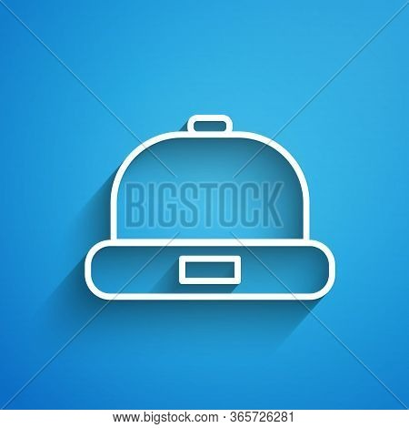 White Line Beanie Hat Icon Isolated On Blue Background. Long Shadow