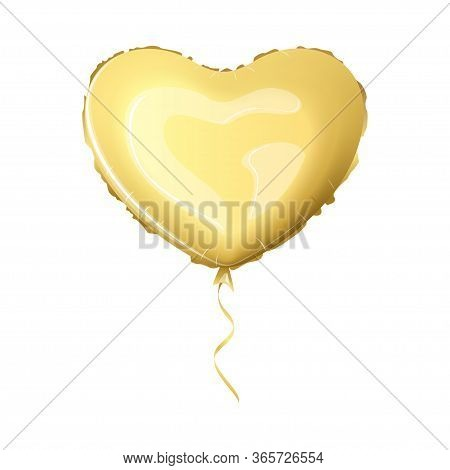 Realist Foil Balloon Gold Color. Metallic Air Balloon In The Form Of A Heart. Vector Illustration.