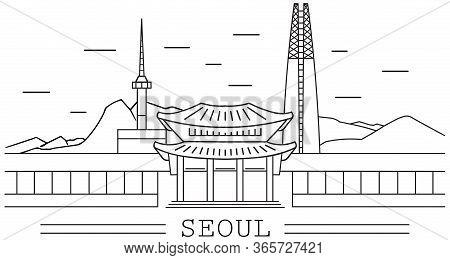 Seoul City, Line Art, Lotte Tower, Namsan Tower, Sky Tower