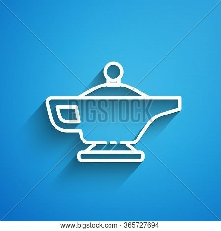 White Line Magic Lamp Or Aladdin Lamp Icon Isolated On Blue Background. Spiritual Lamp For Wish. Lon