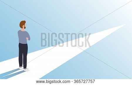 A Young Modern Man Stands On A Symbolic Road And Looks Forward. Reflects On The Chosen Path. Vector