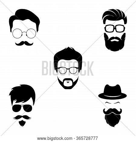 Set Of  Black Silhouette Bearded Men Faces