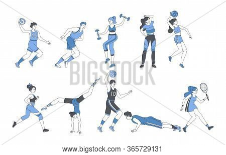 Young People Doing Sport Activities Fitness Workout Or Playing Sport Games. Happy Men And Women In S
