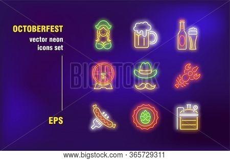 Octoberfest Neon Signs Set. Mug, Bottle, Barrel Of Beer, Hop, Sausage, German Festival, Bar, Pub. Ni