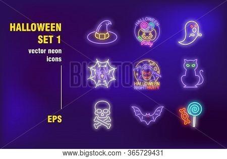 Halloween Neon Signs Set. Glowing Pumpkin, Witch Hat, Black Cat, Skull. Night Bright Advertising. Ve