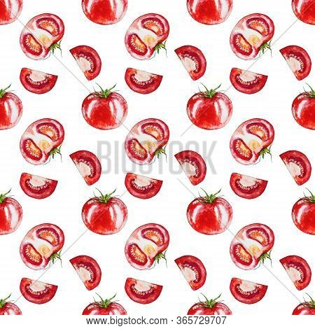 Seamless Pattern With Red Tomato Isolated On The White Background. Watercolor Drawing Of Tomatoes On