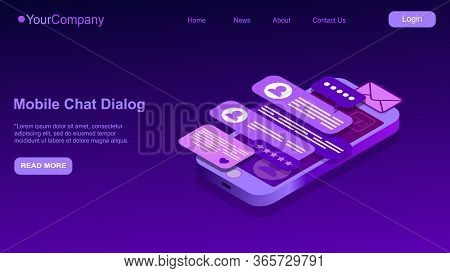 Text Message Isometric, Mobile Chat Dialog, Messenger Concept, Mobile Phone Keyboard, Chatbot, Suppo