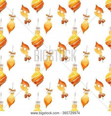 Seamless Watercolor Drawing Of Christmas Decorations On White Background. Aquarelle Illustration. Ha