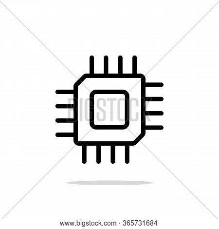 Black Computer Microprocessor Icon For Web Site