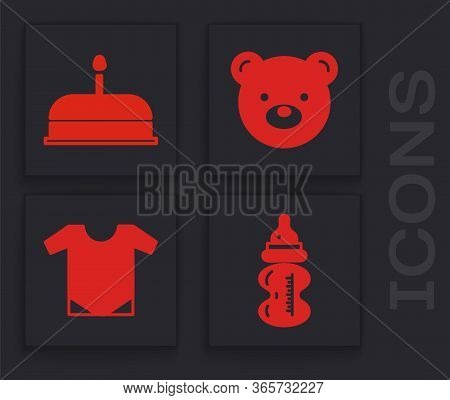 Set Baby Bottle, Cake With Burning Candles, Teddy Bear Plush Toy And Baby Onesie Icon