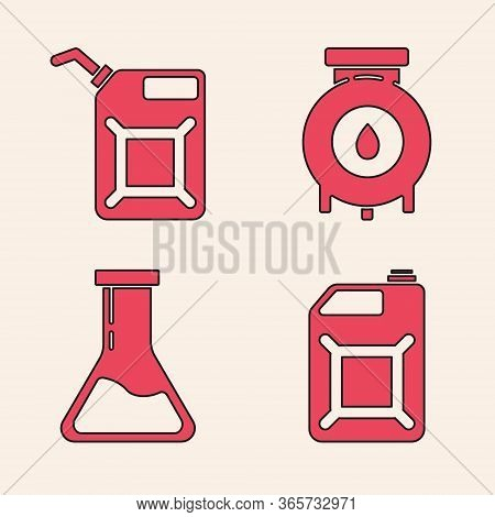 Set Canister For Gasoline, Canister For Gasoline, Oil And Gas Industrial Factory Building And Test T